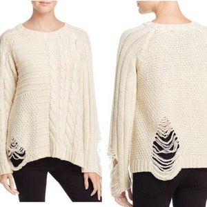 NWT Banjara Destroyed Detailed Metallic Sweater